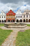 Plaza with well-conserved Renaissance and Baroque houses, Telc, Moravia,  Royalty Free Stock Images