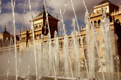 Plaza zorilla in valladolid spanish city. With fountain Stock Photos