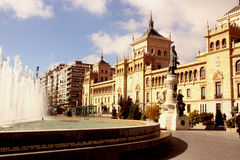 Plaza zorilla in valladolid spanish city. With fountain Stock Images