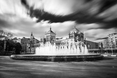 Plaza Zorrilla and Cavalry Academy of Valladolid. Fountain in the Plaza Zorrilla square in Valladolid, with the Cavalry Academy building in the background. Long Stock Photos