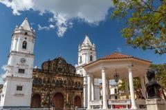 Plazaborgmästare för huvudsaklig fyrkant av den gamla delen av Panama City arkivfoto
