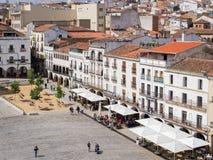 Plazaborgmästare i Caceres, Spanien Arkivfoto