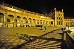 Plazaen de España Nightshot Arkivbild