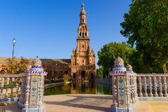 Berömd Plaza de Espana, Sevilla, Spanien Royaltyfri Bild