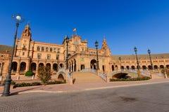 Berömd Plaza de Espana, Sevilla, Spanien Arkivfoto