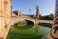 Berömd Plaza de Espana, Sevilla, Spanien Fotografering för Bildbyråer