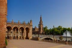 Berömd Plaza de Espana, Sevilla, Spanien Royaltyfria Bilder