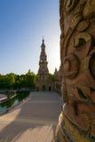 Berömd Plaza de Espana, Sevilla, Spanien Arkivbilder