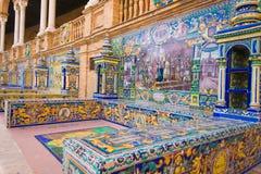 Berömd Plaza de Espana, Sevilla, Spanien Arkivbild