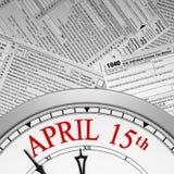 Plazo del tiempo del impuesto en un reloj Fotografía de archivo libre de regalías