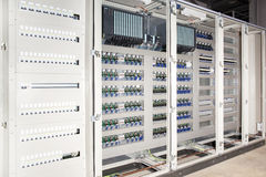 Plc automated system electrical panel board. Construction detail stock images