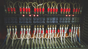 PLC Cabling. Colorful PLC System Wires Connection Royalty Free Stock Image
