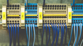 PLC Cabling. Colorful PLC System Wires Connection Royalty Free Stock Images