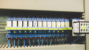 PLC Cabling. Colorful PLC System Wires Connection Royalty Free Stock Photos