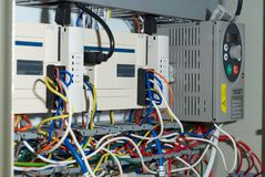 PLC module in a cupboard Royalty Free Stock Photos