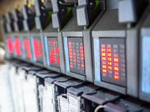 Plc with status LED. Microcontroller panel wired electronic industrial automation, plc with LED status stock photo