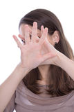 Plciowy herassment - kobieta odizolowywająca mówi nie. Zdjęcia Stock