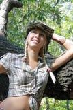 plciowy sukienny blondynki cowpuncher zdjęcie stock