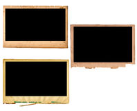 Pld paper photo frames. 3 various edges stock image
