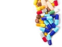 Píldoras en blanco Fotografía de archivo