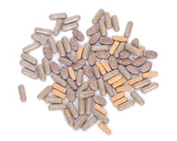Píldoras naturales del suplemento de la vitamina Fotos de archivo