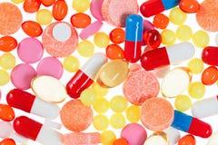 Píldoras, tablillas y drogas, fondo médico Imagen de archivo
