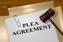 Plea Agreement concept. 3D illustration of PLEA AGREEMENT title on legal document Royalty Free Stock Image