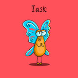 Pleading butterfly. Card with an cartoon butterfly who asks about something Royalty Free Stock Image