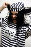 Pleading Insanity. Mental Asylum Prisoner Pulls Out Her Hair In A Plea Of Insanity Stock Photography