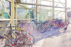 Pleanty of Parked Color Bicycles on Street Stock Photo