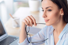 Pleasant Business Woman Sitting At The Table Stock Photography