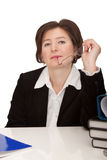 Pleasant business woman at the table. royalty free stock photos