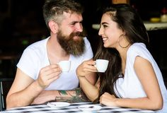 Pleasant coffee break. Couple in love drink black espresso coffee in cafe. Couple enjoy hot espresso. Romantic date in. Cafe. Drinking black coffee improves stock photos