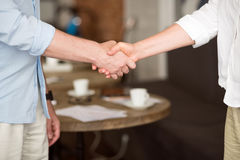 Pleasant colleagues shaking hands Royalty Free Stock Photography