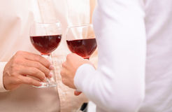 Pleasant Couple Drinking Wine Royalty Free Stock Photos