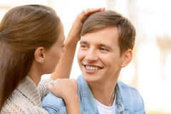 Pleasant couple embracing Royalty Free Stock Photo