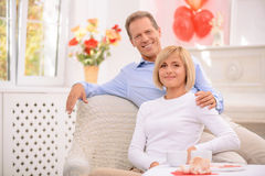 Pleasant couple sitting in the armchair Stock Images