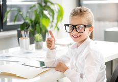Pleasant cute child is expressing gladness stock image