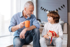 Pleasant delighted child looking at his grandfather. Thank you for the present. Pleasant nice delighted child holding a present box and looking at his royalty free stock photo