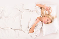 Pleasant dreams for blonde girl Royalty Free Stock Images
