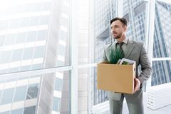 Pleasant employeer holding his belongings. Ready to work. Pleasant handsome employee holding box with belongings and standing in the office Stock Images
