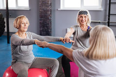 Pleasant friendly women sitting in a circle. Fitness class. Pleasant friendly senior women sitting in a circle and holding their hands together while having a stock photos