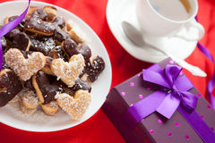 Pleasant gift for Valentine's Day sweet cookies Stock Photos