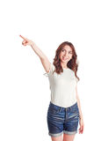 Pleasant girl pointing up Royalty Free Stock Photo