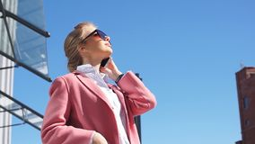 Pleasant girl in sunglasses with fashion look outdoor stock footage