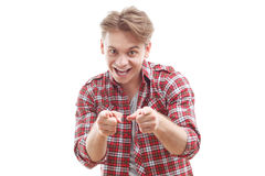 Pleasant guy pointing you Royalty Free Stock Photos