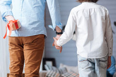 Pleasant handsome man holding the hand of his son. Giving presents. Pleasant handsome adult men holding the hand of his son and hiding a gift behind his back Royalty Free Stock Image