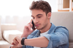 Free Pleasant Handsome Man Talking On Cell Phone Stock Image - 72271671