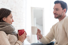 Pleasant happy couple having tea Royalty Free Stock Image