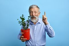 Pleasant happy man pointing up while holding a busket with flower. stock photo